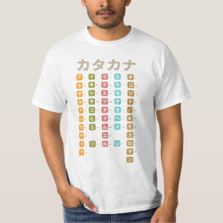 Las katakanas trazan la camiseta japonesa de los