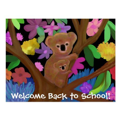 Las koalas dan la bienvenida de nuevo a las postal