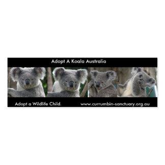 Las koalas de la señal adoptan a un niño Australia Tarjetas De Visita Mini