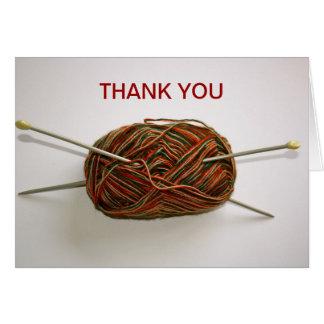 Las lanas y las agujas que hacen punto le agradece tarjeta de felicitación