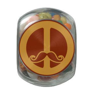 Las latas y los tarros de Stache de la paz Jarrones Cristal