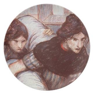 Las lavanderas, 1898 (en colores pastel en lona) platos