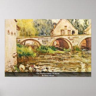 Las lavanderas de Moret por Sisley Alfred Impresiones