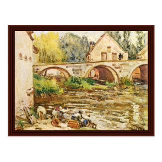 Las lavanderas de Moret por Sisley Alfred Postales