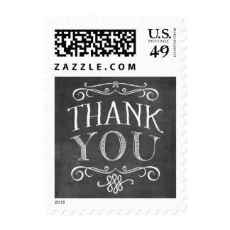 Las letras de la pizarra del vintage le agradecen sello