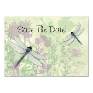 Las libélulas azules ahorran la fecha invitación 12,7 x 17,8 cm