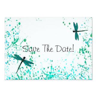 """Las libélulas del trullo ahorran la fecha invitación 5"""" x 7"""""""