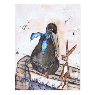 Las liebres y el cuervo postales