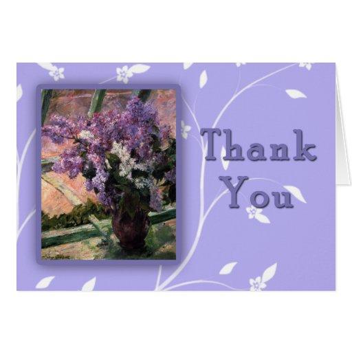 Las lilas hermosas de Maria Cassat le agradecen la Tarjeta De Felicitación