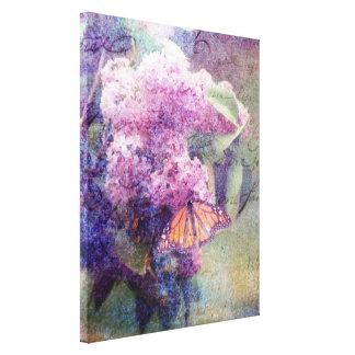 Las lilas texturizadas envolvieron la lona lona envuelta para galerias