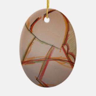 Las líneas de domingo adorno ovalado de cerámica