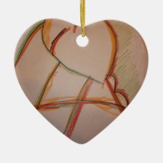 Las líneas de domingo adorno de cerámica en forma de corazón