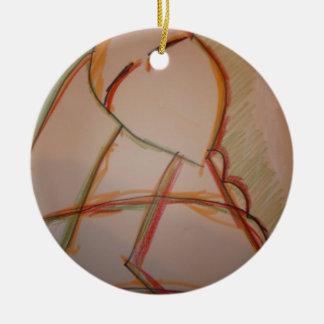 Las líneas de domingo adorno redondo de cerámica