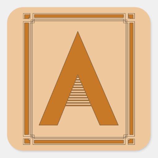 Las líneas rectas art déco con el monograma, letra pegatina cuadrada