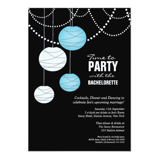 Las linternas de papel azules de la aguamarina del invitaciones personales