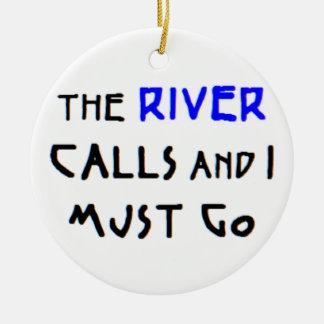 las llamadas del río adorno navideño redondo de cerámica
