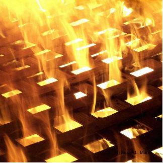 Las llamas del fuego a través de una fotografía de escultura fotografica
