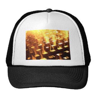 Las llamas del fuego a través de una fotografía de gorras