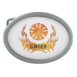 Las llamas del jefe de bomberos hebilla cinturon oval
