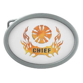 Las llamas del jefe de bomberos hebillas cinturon ovales