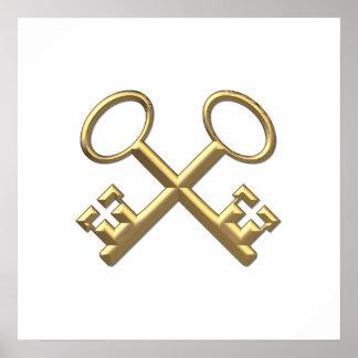 """Las llaves de San Pedro """"tridimensional"""" de oro Póster"""