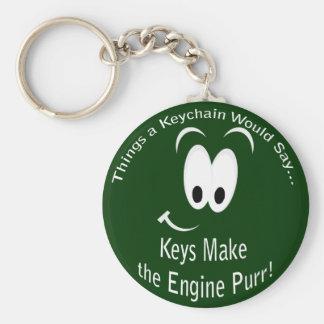 Las llaves hacen el llavero del ronroneo del motor