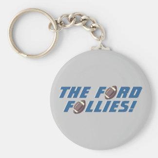 ¡Las locuras de Ford! - Fútbol de Detroit Llavero Redondo Tipo Pin