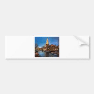 Las luces de Amsterdam Etiqueta De Parachoque