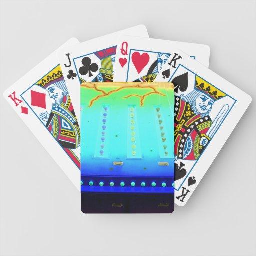 las luces invertidas del azul w del verde justo de cartas de juego