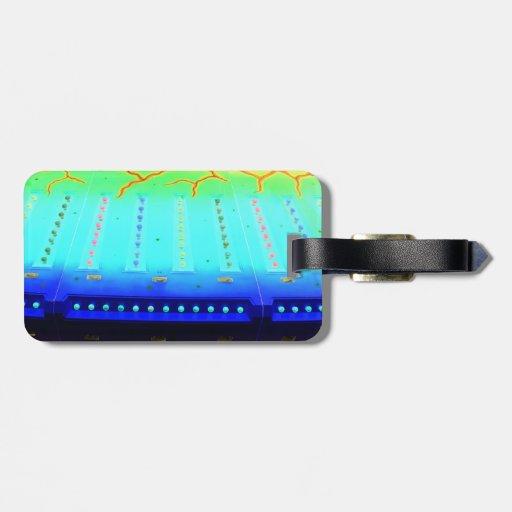 las luces invertidas del azul w del verde justo de etiquetas para equipaje