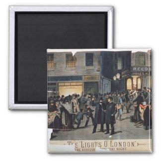"""""""Las luces O"""" London (litho del color) Imán Cuadrado"""