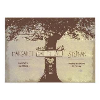las luces rústicas del árbol y de la secuencia invitación 11,4 x 15,8 cm