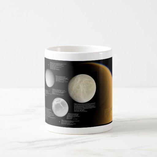 Las lunas del titán Mimas de Saturn Enceladus Taza