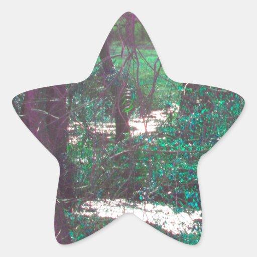 Las maderas de hadas verdes pegatina en forma de estrella