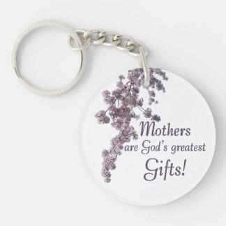 Las madres son los regalos más grandes de dios llavero redondo acrílico a doble cara