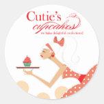 Las magdalenas de Cutie - pasteles de los postres Etiquetas Redondas
