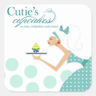 Las magdalenas de Cutie - pasteles de los postres Pegatina Cuadrada