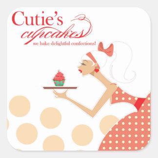 Las magdalenas de Cutie - pasteles de los postres Calcomanía Cuadrada