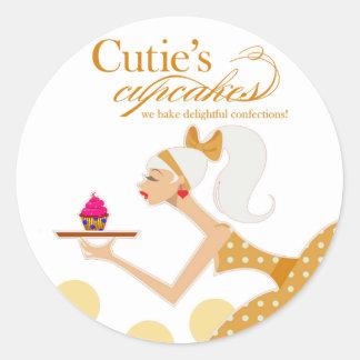 Las magdalenas de Cutie - pasteles de los postres Pegatina Redonda