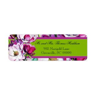 Las magnolias de los colibríes personalizaron etiqueta de remite