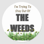 Las malas hierbas etiqueta redonda