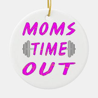Las mamáes miden el tiempo hacia fuera del Barbell Adorno Navideño Redondo De Cerámica