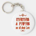 Las mamáes y las papás son amor llaveros personalizados