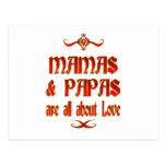 Las mamáes y las papás son amor postal