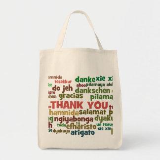Las maneras múltiples de decir le agradecen en muc bolsa tela para la compra