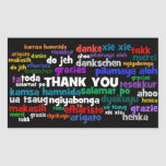 Las maneras múltiples de decir le agradecen en rectangular pegatina