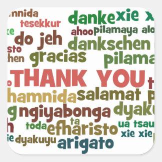 Las maneras múltiples de decir le agradecen en pegatina cuadrada