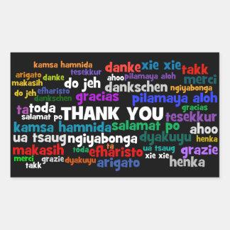 Las maneras múltiples de decir le agradecen en pegatina rectangular