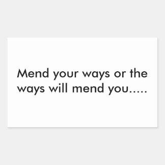 Las maneras seguro reparan waywards pegatina rectangular