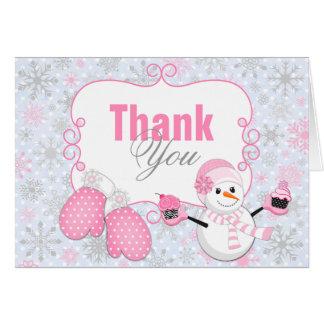 Las manoplas del muñeco de nieve del país de las m felicitación